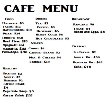 Roblox Cafe Menu Png Free Roblox Cafe Menu Png Transparent Images 115340 Pngio