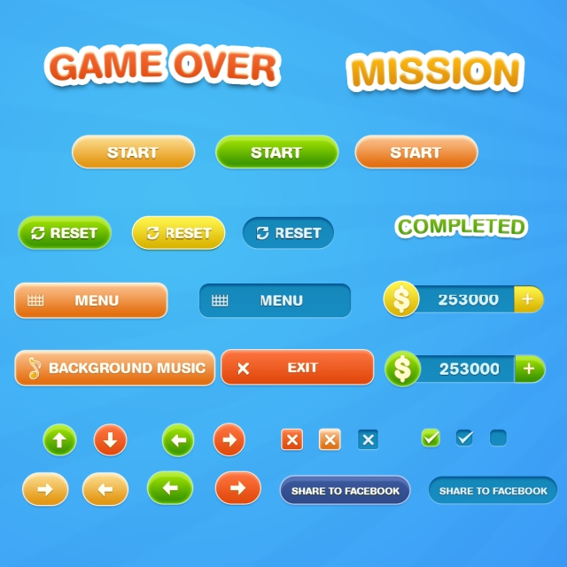 Gui Png - Cartoon Games Ui Buttons Set Colorful Gui For Games, Games, Gui ...