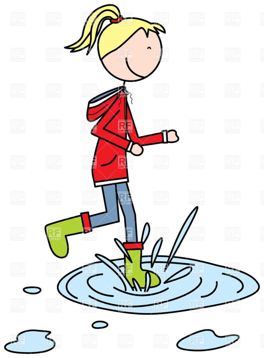 Puddle Clipart - Cartoon girl jumping to a puddle Vector Image of People © nahhan ...