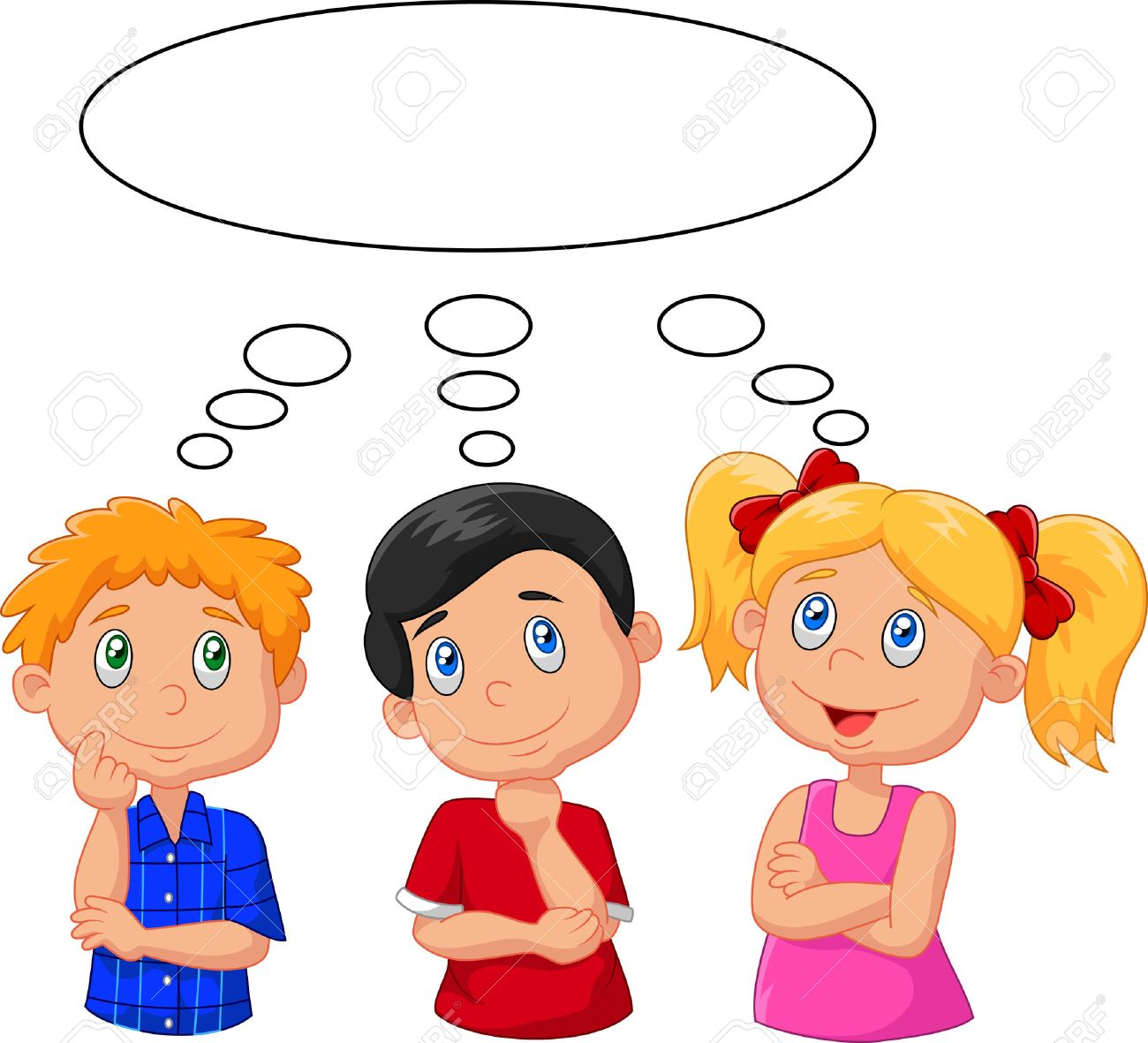 Cartoon Kids Thinking With White Bubble 757339 Png Images Pngio