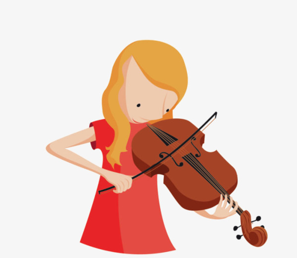 Cool Girl Violin Png - Cartoon Little Girl Playing The Violin, Cartoon Clipart, Hand ...
