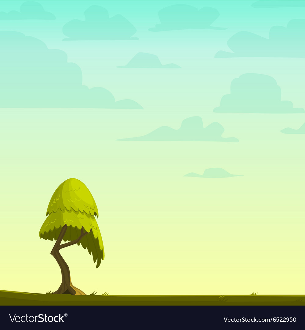Nature Background - Cartoon nature background with a tree Royalty Free Vector