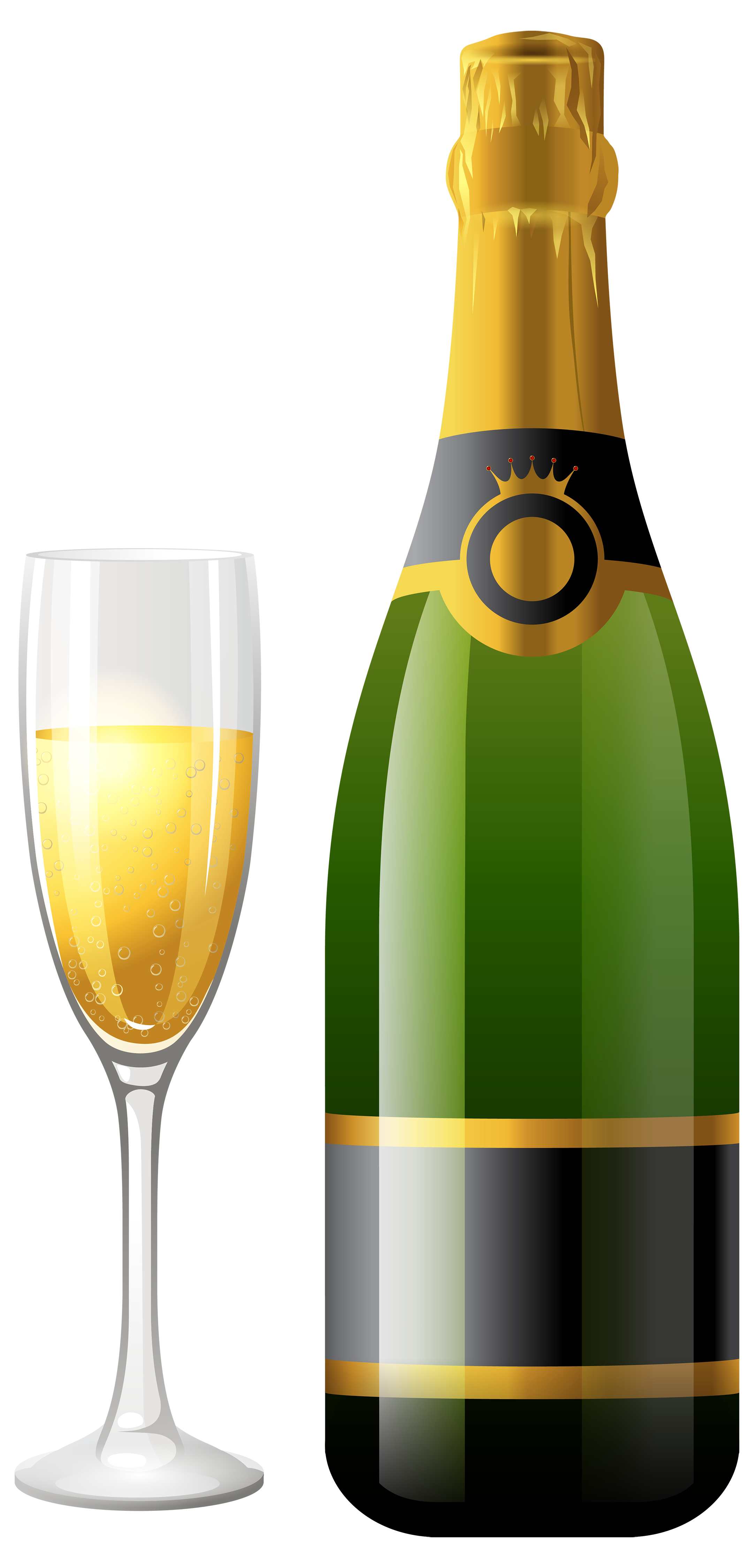 Bottles Png - Champagne Bottle with Glass PNG Clipart