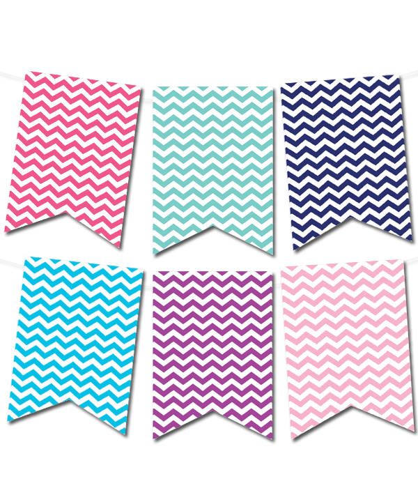 Colorful Banner Template Png - Chevron Pennant Banner (in 12 colors) | Free printable banner ...