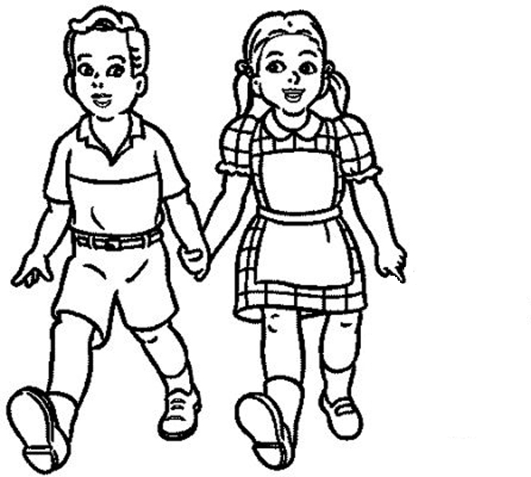 Kids Clothes Png Black And White - Children At School PNG Black And White Transparent Children At ...