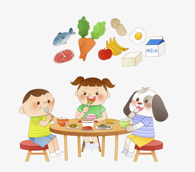 Children eating lunch in cafeteria illustration.