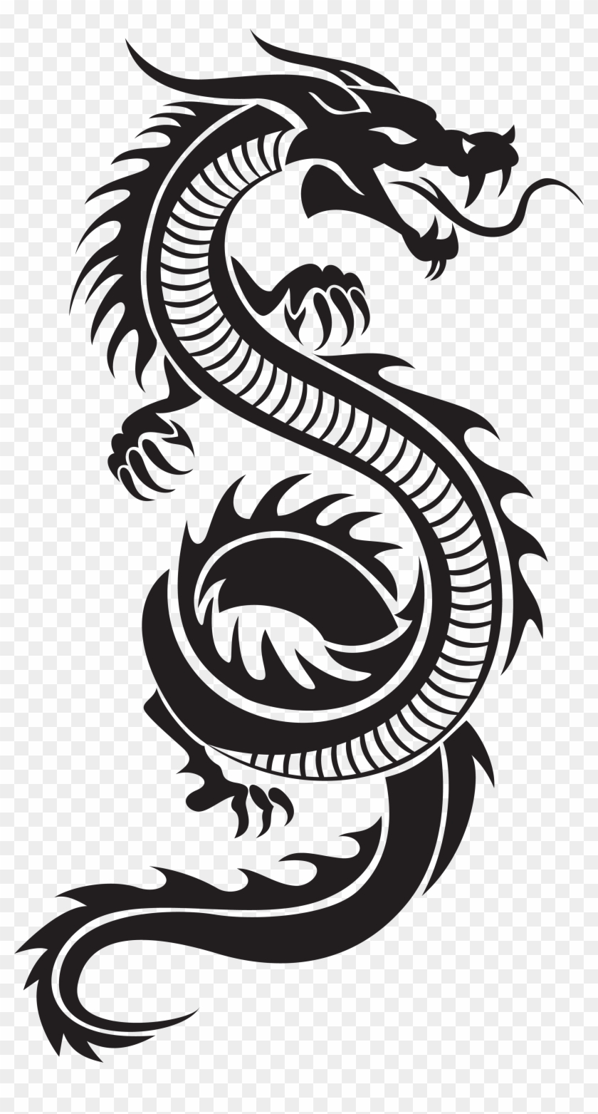 Black Dragon Png Hd - Chinese Dragon Silhouette Png Clip Art - Chinese Dragon Silhouette ...