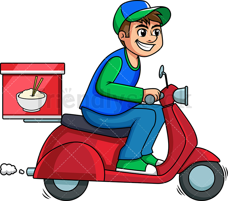 Guy With Food Png - Chinese Food Delivery Guy On Scooter Cartoon Vector Clipart ...