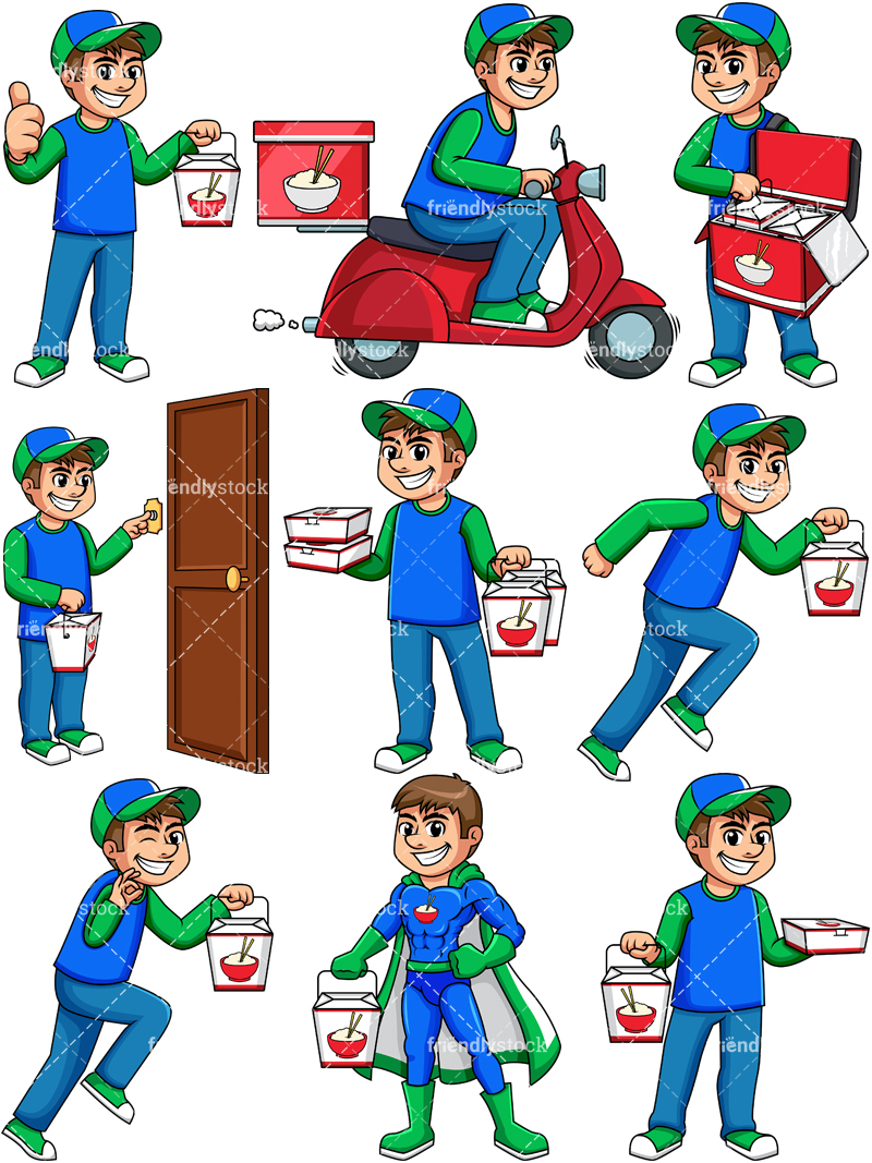 Guy With Food Png - Chinese Food Delivery Man Cartoon Vector Clipart - FriendlyStock