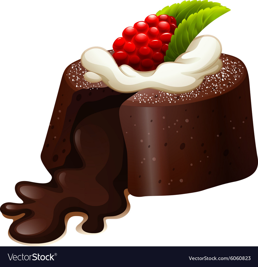 Messed Up Cake Vector Png - Chocolate lava cake with rasberry Royalty Free Vector Image