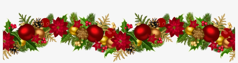 Poinsettia Garland Png - Christmas Decorative Garland Png Clip Art Image - Christmas ...