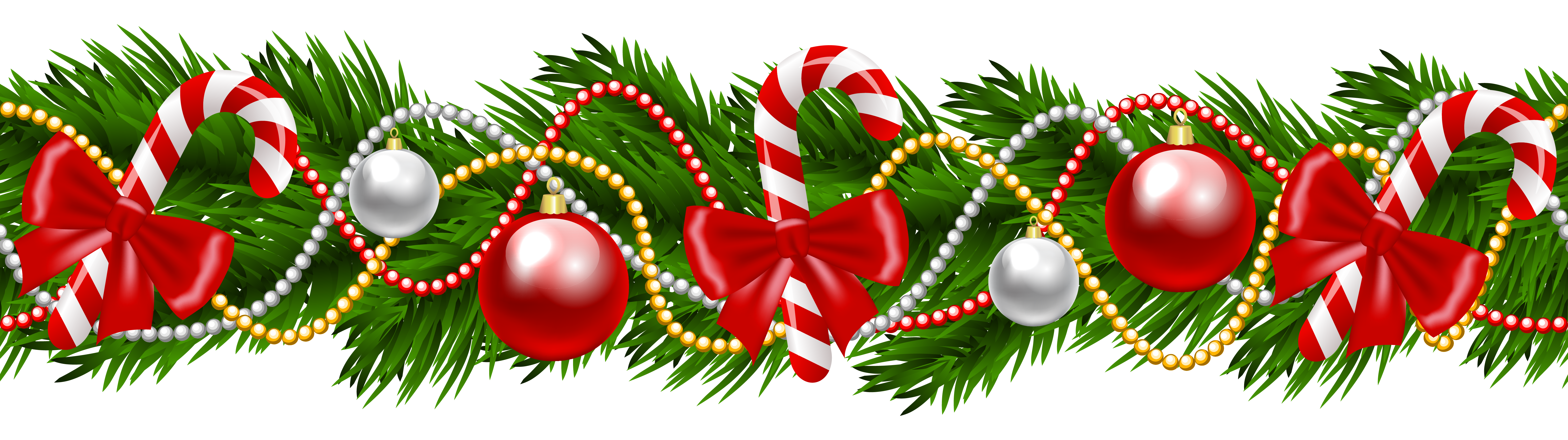 Poinsettia Garland Png - Christmas Pine Deco Garland PNG Clipart Image - Clip Art Library