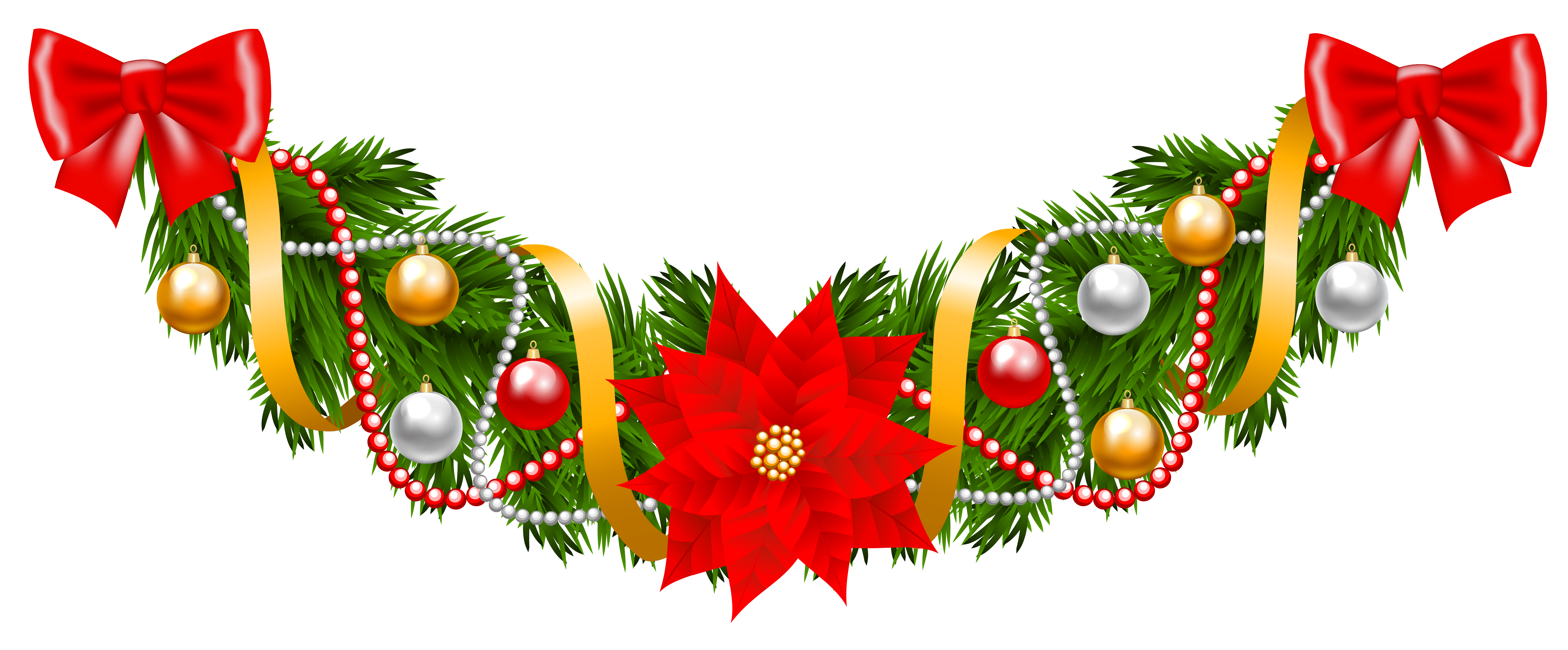 Poinsettia Garland Png - Christmas Pine Deco Garland with Poinsettia PNG Clipart Image ...