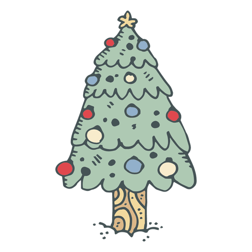 Cartoon Christmas Tree Png - Christmas tree hand drawn cartoon icon 5 - Transparent PNG & SVG ...