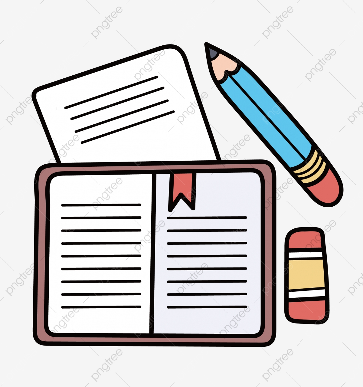 Class Notes Png - Class Notes Illustration Illustration, Notepad, Pencil, Eraser PNG ...
