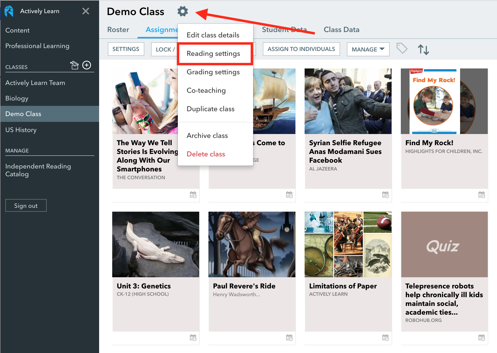 Class Reading Png - Class reading settings – Actively Learn