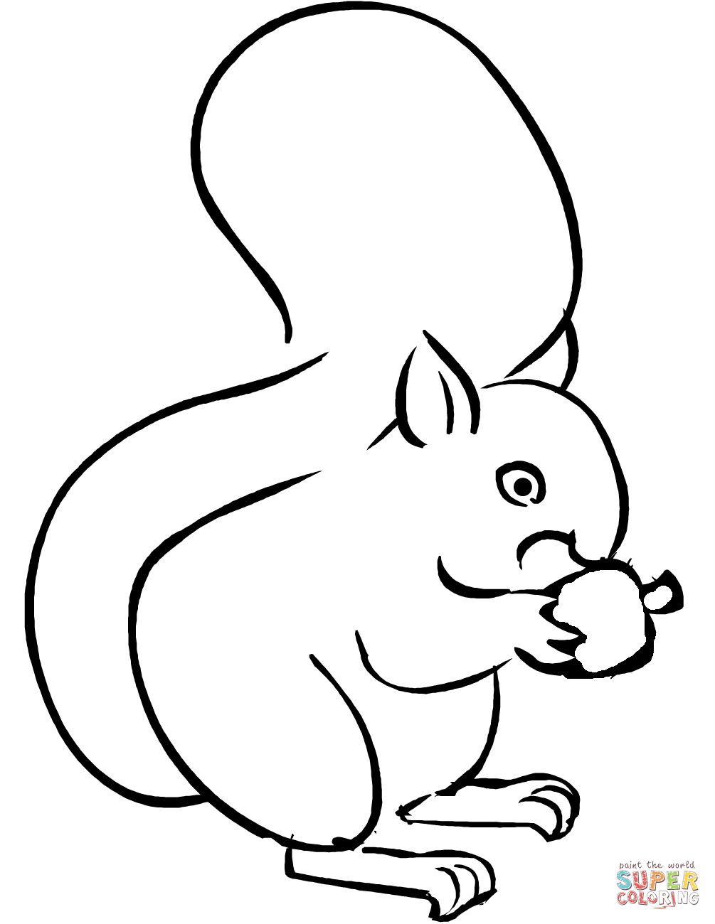 Click The Squirrel Eating Acorn Coloring #100132 - PNG ...