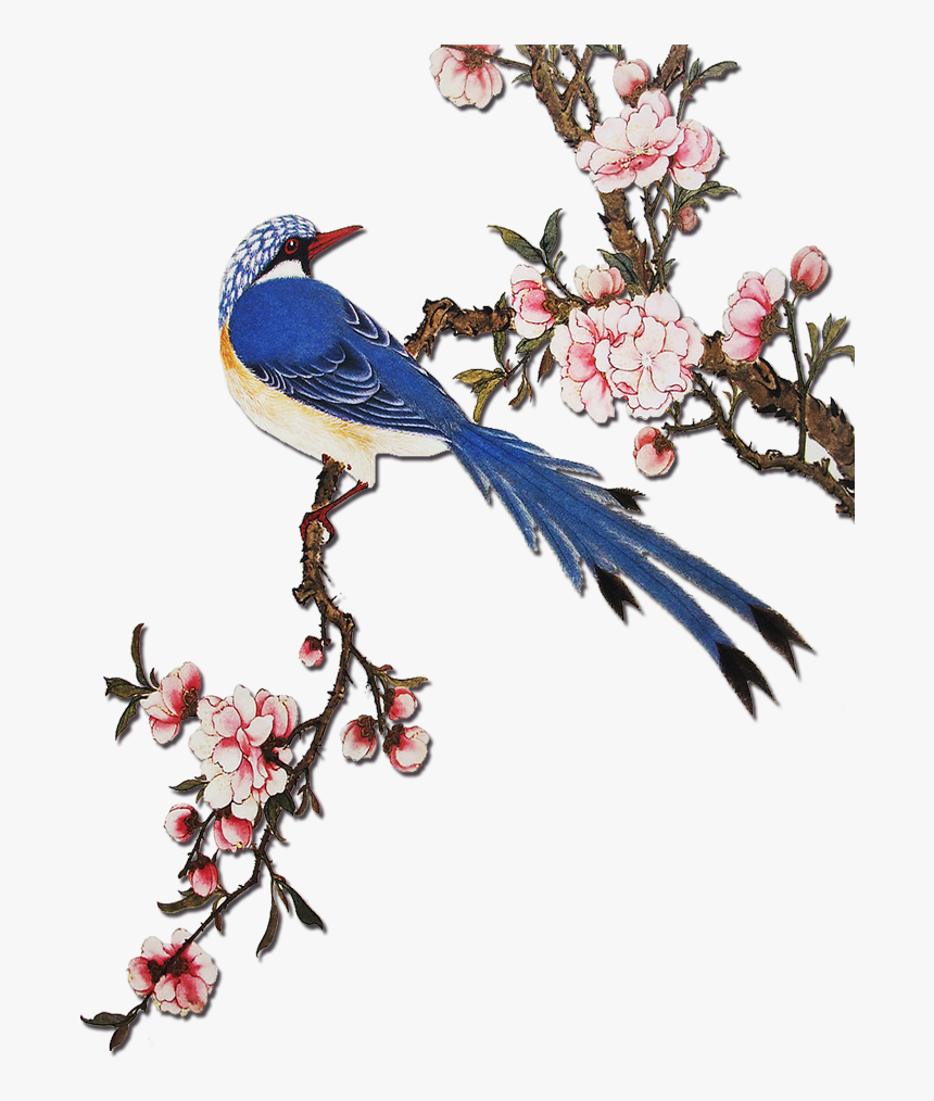 Flowering Peach Trees Png - Clip Art Flowering Peach Tree - Chinese Flowers And Birds, HD Png ...