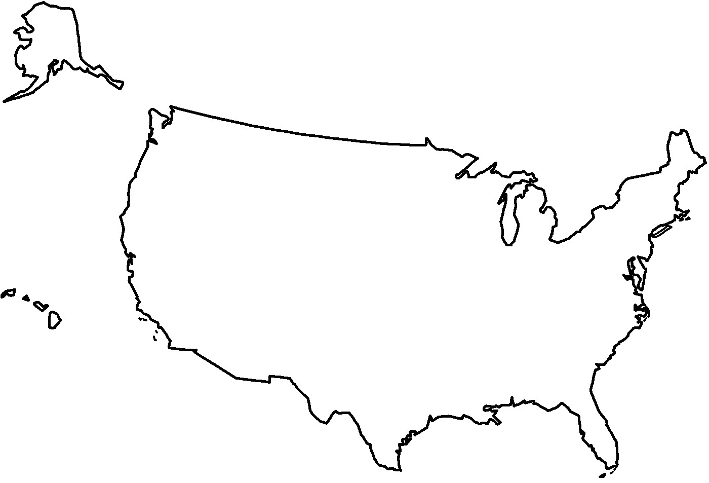 Clipart Of United States Map Outline Us #83471 - PNG Images - PNGio