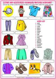 Clothes Worksheet Png - Clothes and Accessories ESL Printable Worksheets and Exercises