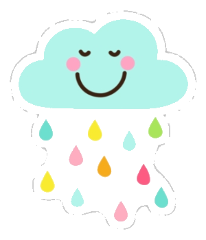Cute Colorful Png - Cloud Cool Rain Drops Clip Art Cute Happy With Colorful Png - AZPng