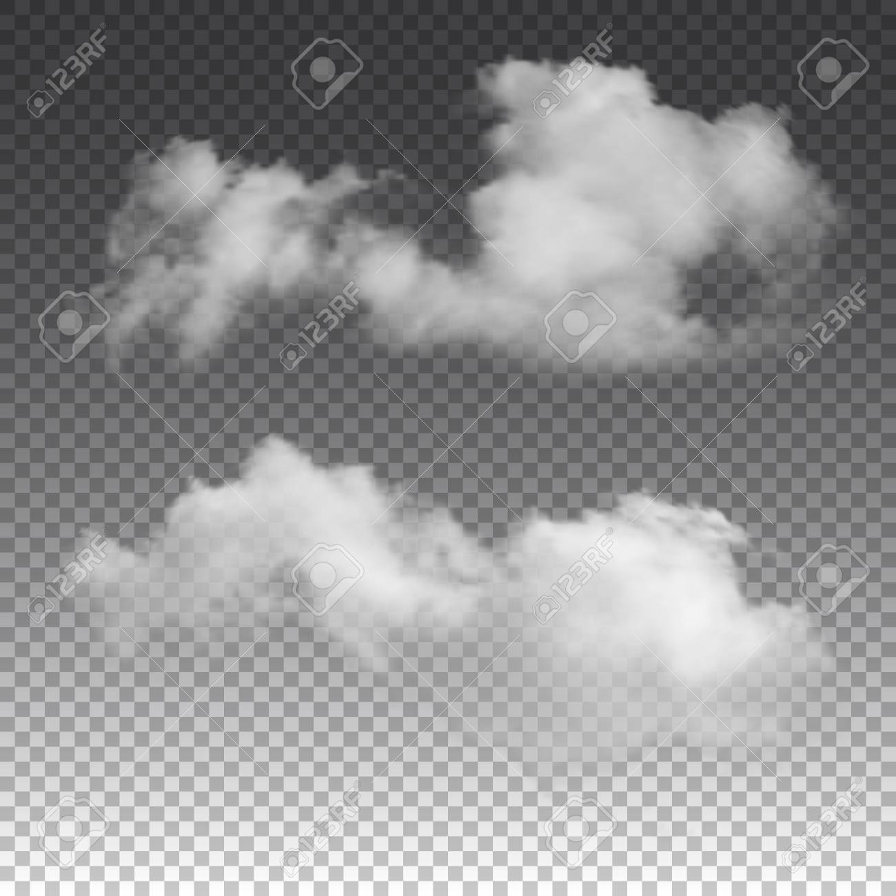 Clouds No Background - Clouds On Transparent Background. Vector Realistic Isolated Cloud ...