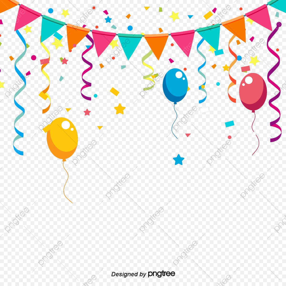 Party Favor Png - Colorful Birthday Party Decorations, Triangular Hanging Flag ...