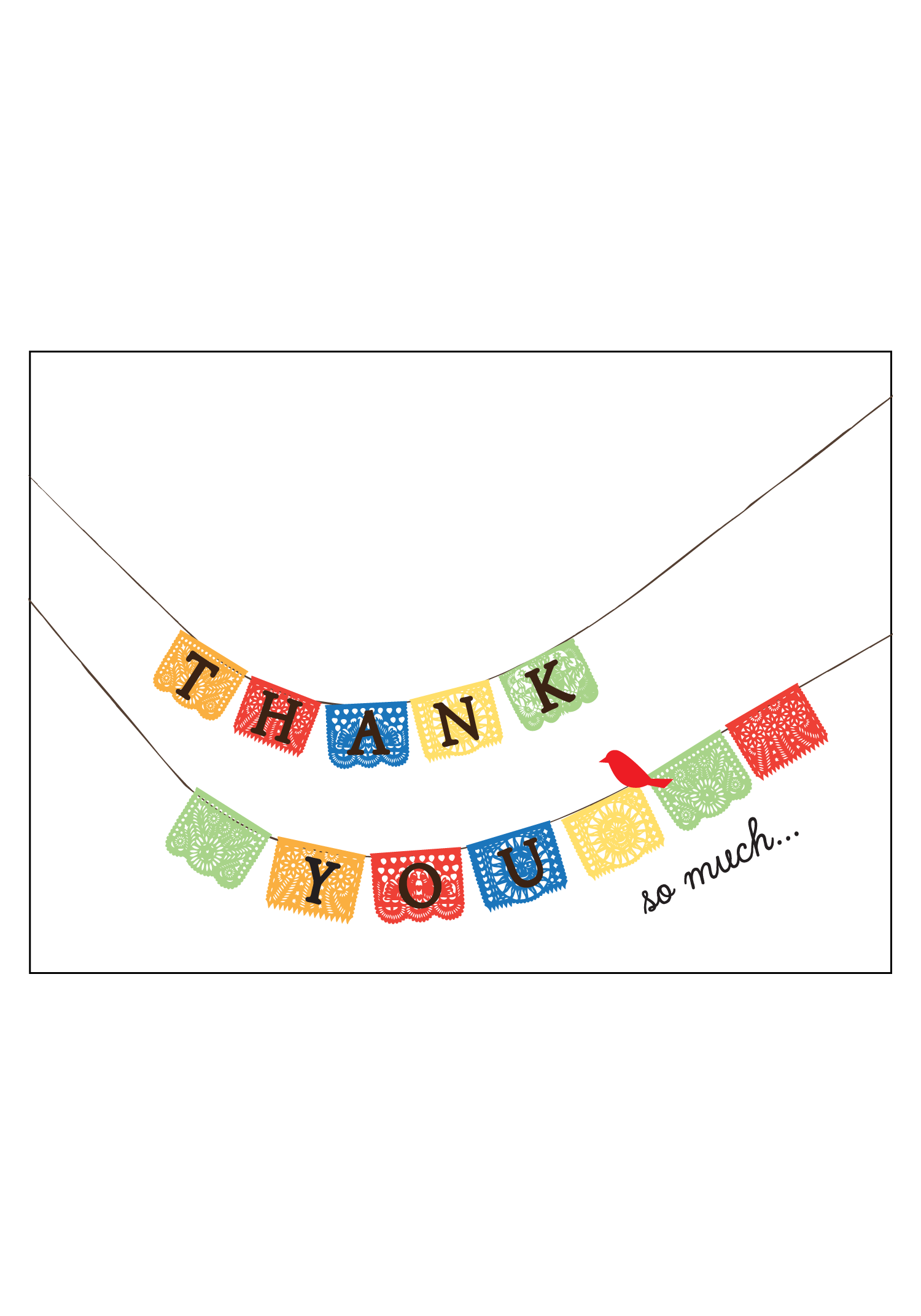 Smiling Thank You Butterfly Png - Colorful Paper Flags Thank you Cards — Social Butterfly Designs