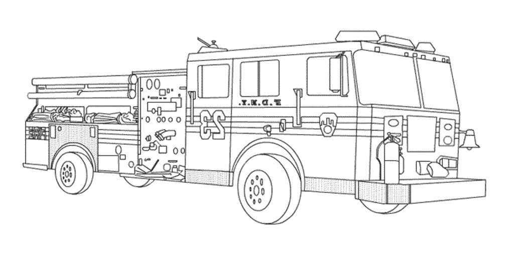 Coloring Book World ~ Free Fire Truck Co #1421081 - PNG Images - PNGio
