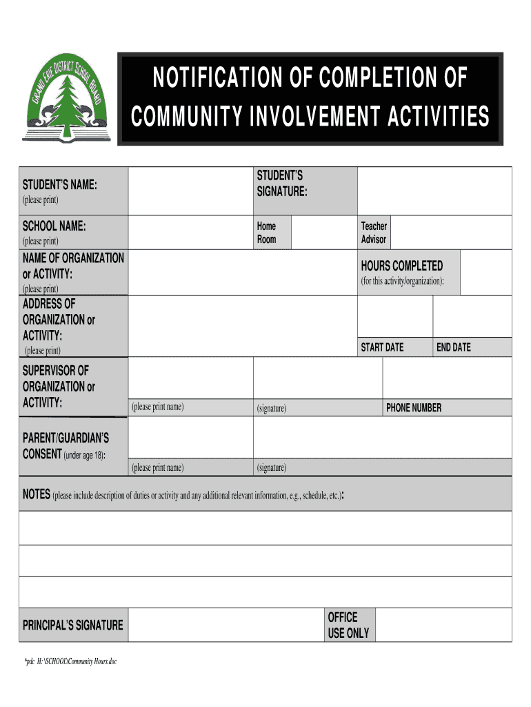 Grand Erie District School Board Png - Community Hours Form - Fill Online, Printable, Fillable, Blank ...