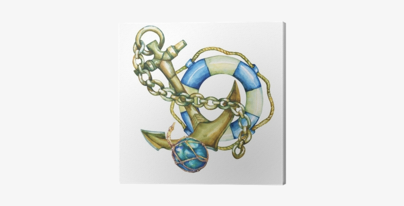 Lifebuoy With Anchor Png - Composition With Lifebuoy And Anchor - Watercolor Painting - Free ...