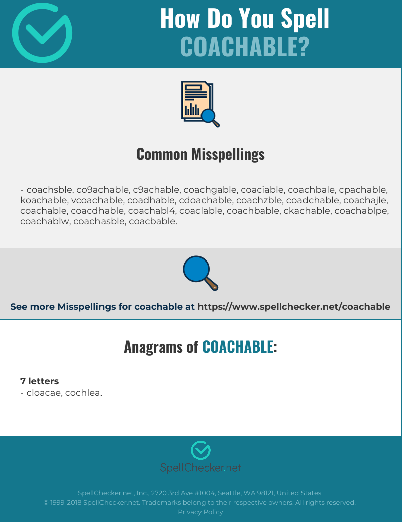 Coachable Png - Correct spelling for coachable [Infographic] | Spellchecker.net
