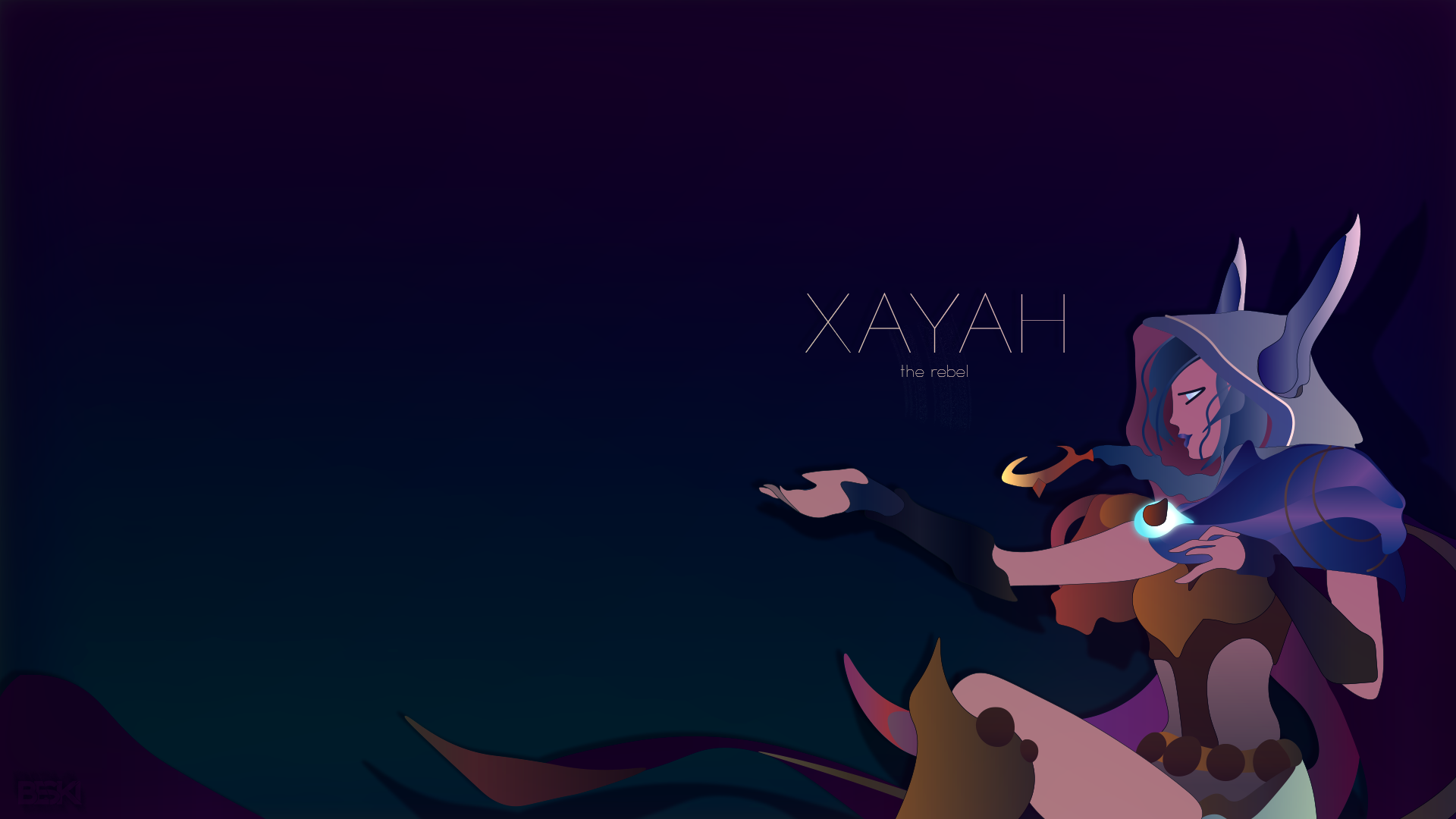 Cosmic Dusk Xayah Minimalist Wallpaper 1 1130978 Png Images Pngio