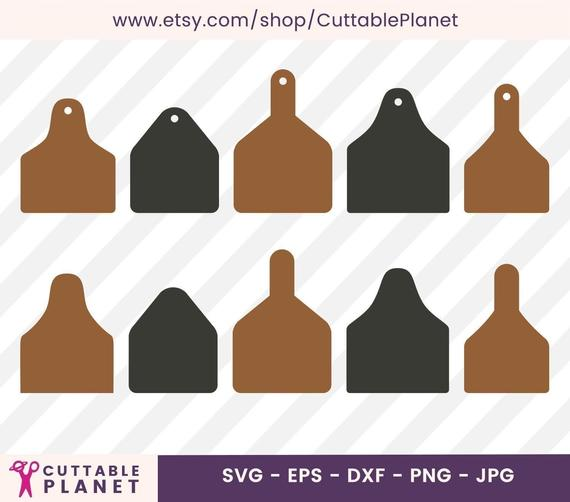 Cow Ear Tags Earrings Template Svg Dxf