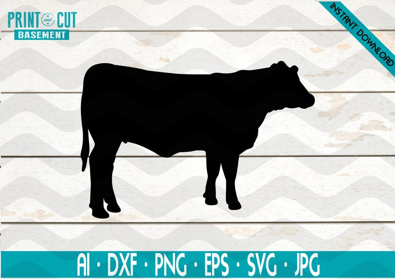 Cow Silhouette 1png - Cow Face SVG Rosie Riveter Inspired Heifer No Bow Cut File for | PNGio