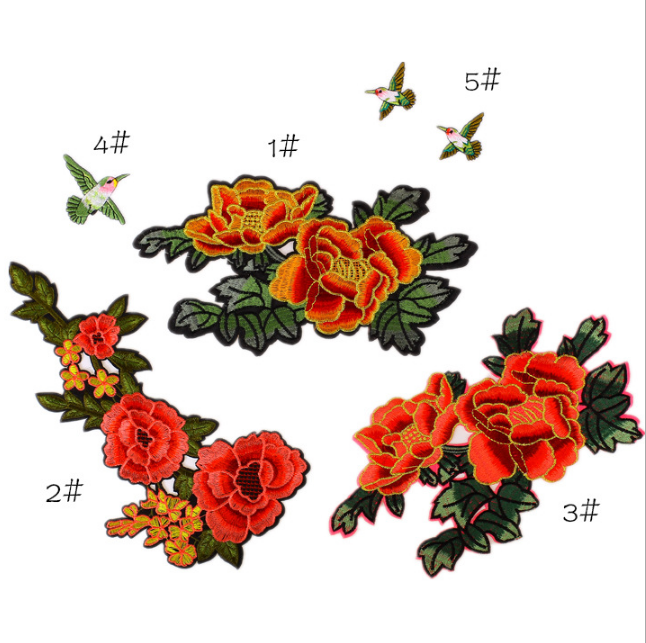 Embroidery Png - Custom Embroidered Patches iron on embroidery big flower patches for pants