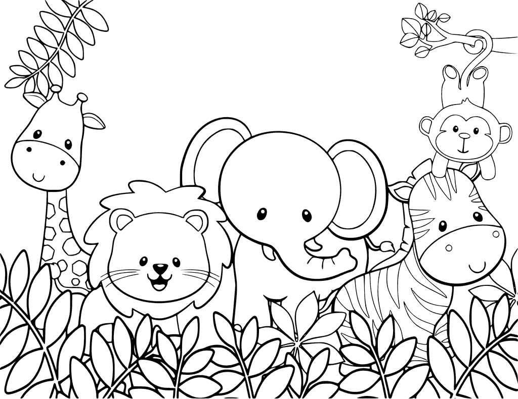 Animal Coloring Page Png - Cute Animal Coloring Pages - Best Colori #458900 - PNG Images - PNGio