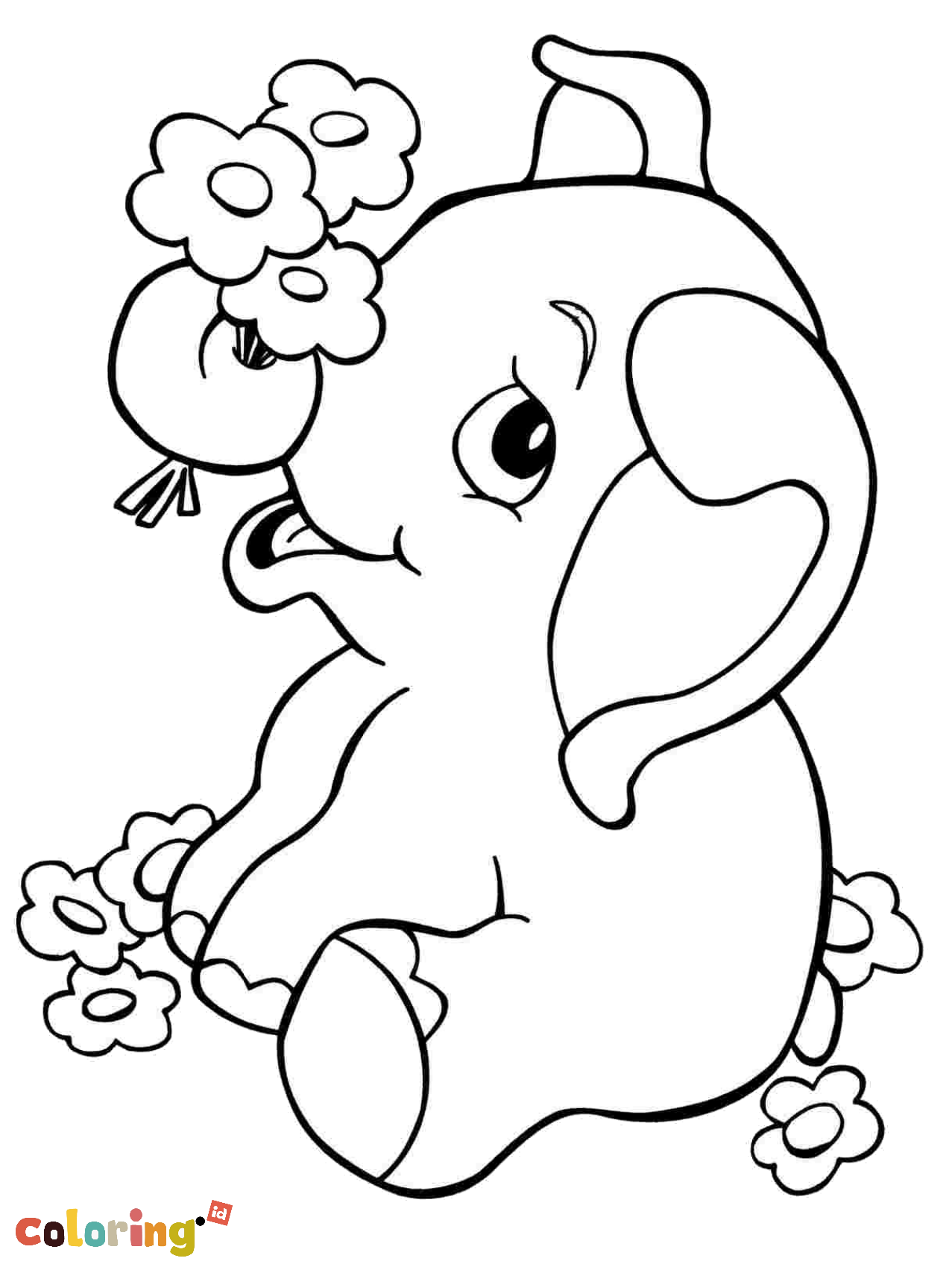 Cute Baby Elephant Coloring Page - Color #2692264 - PNG ...