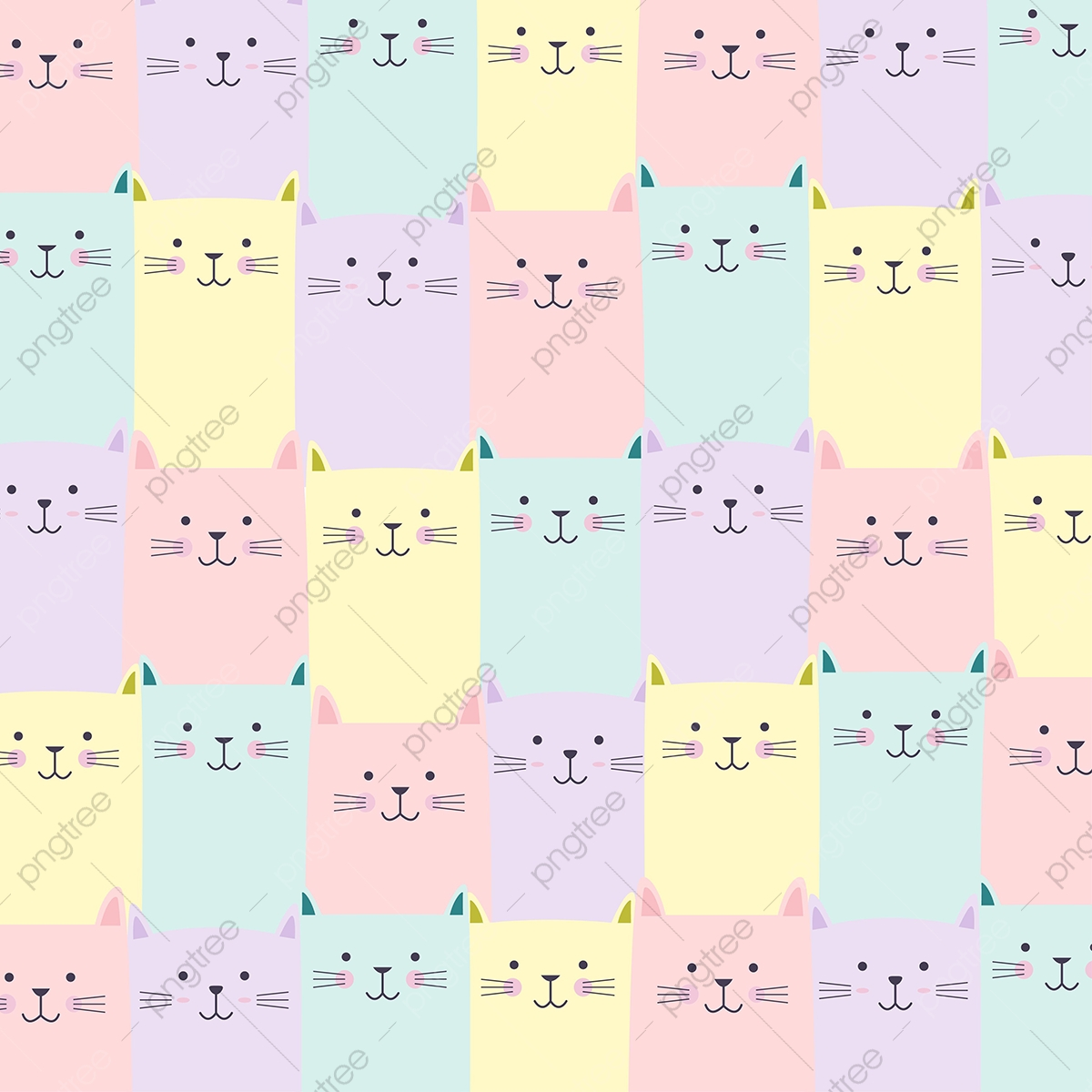 Pastel Colors Png - Cute Cat Pattern With Pastel Color, Cat, Pattern, Cute PNG and ...