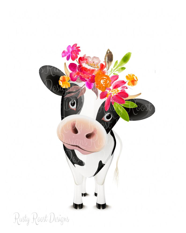 Cute Cow Png - Cute cow pngcow clipartcow with flowerssublimationdigital | PNGio