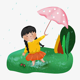 Little Girl Playing In Rain Png - Cute girl playing with umbrella in the rain   Free download ...