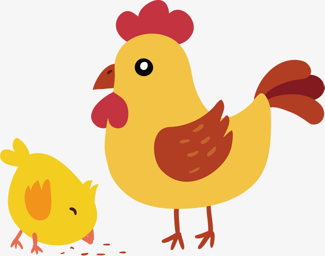 Yellow Chicken Png - cute hen and little yellow chicken, Chicken Vector, Vector Material, Big  Hen PNG