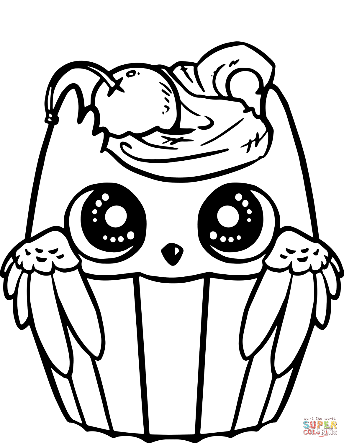Cute Owl Cupcake Coloring Page Free Pr 2635533 Png Images Pngio