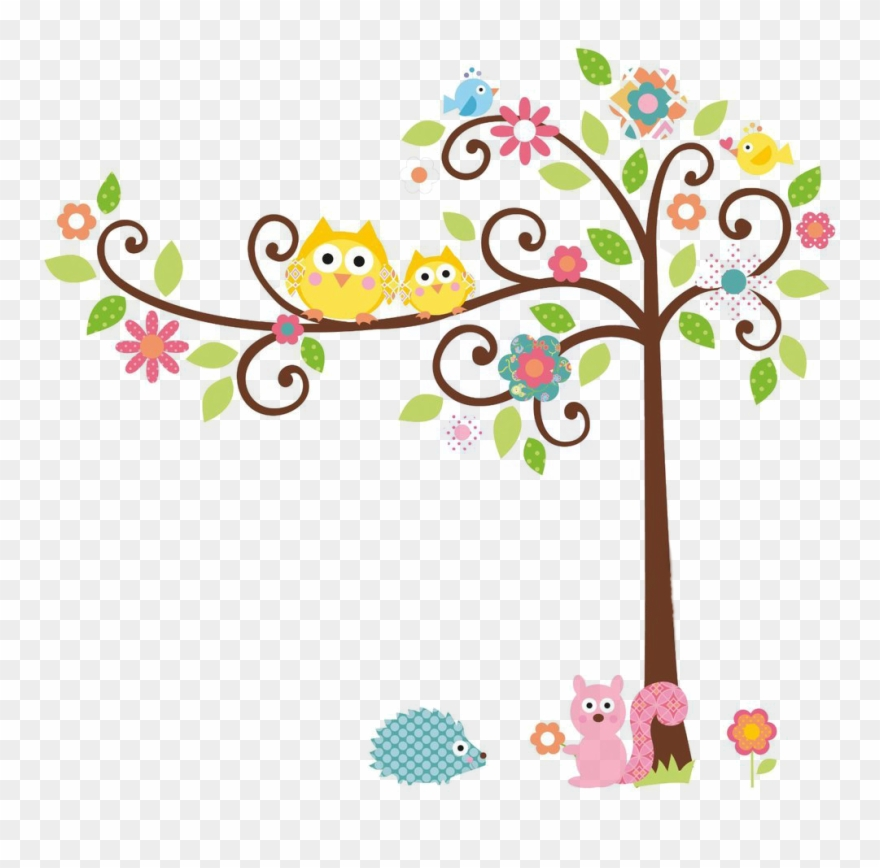 Owl Tree Png - Cute Owl On Tree Clipart Rigybdoil Copy - Colorful Owl On Branch ...