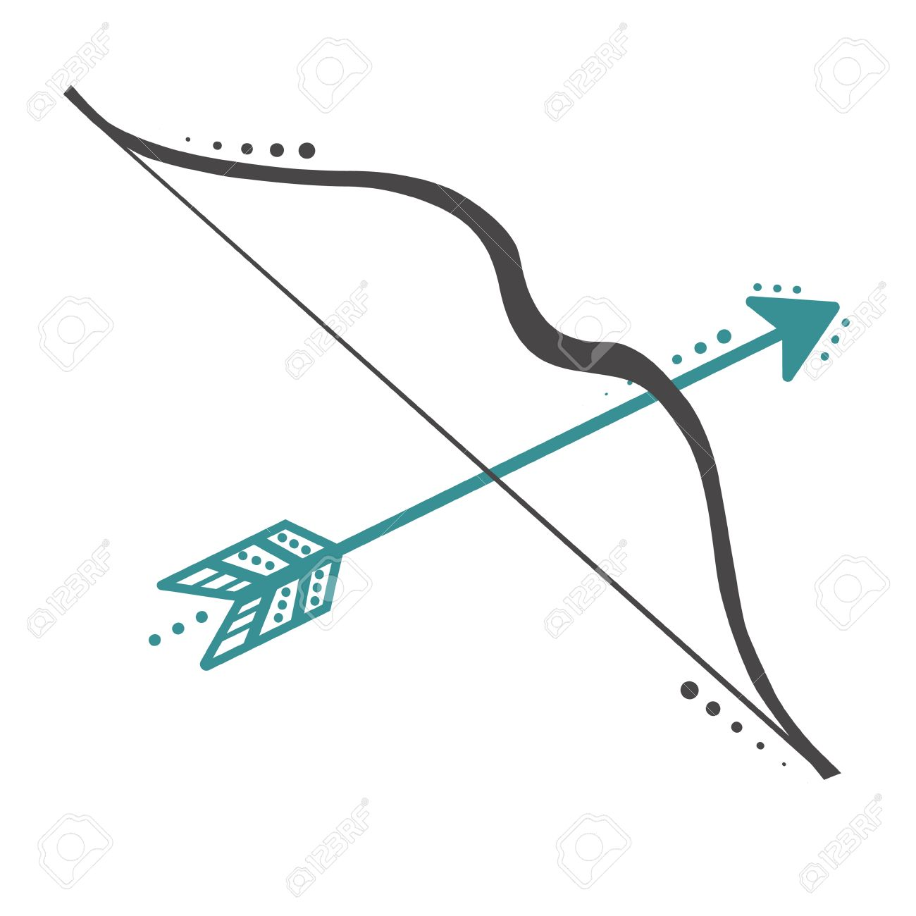 Bow And Arrow Transparent Background - Cute Retro Bow And Arrows On A Transparent White Background ...