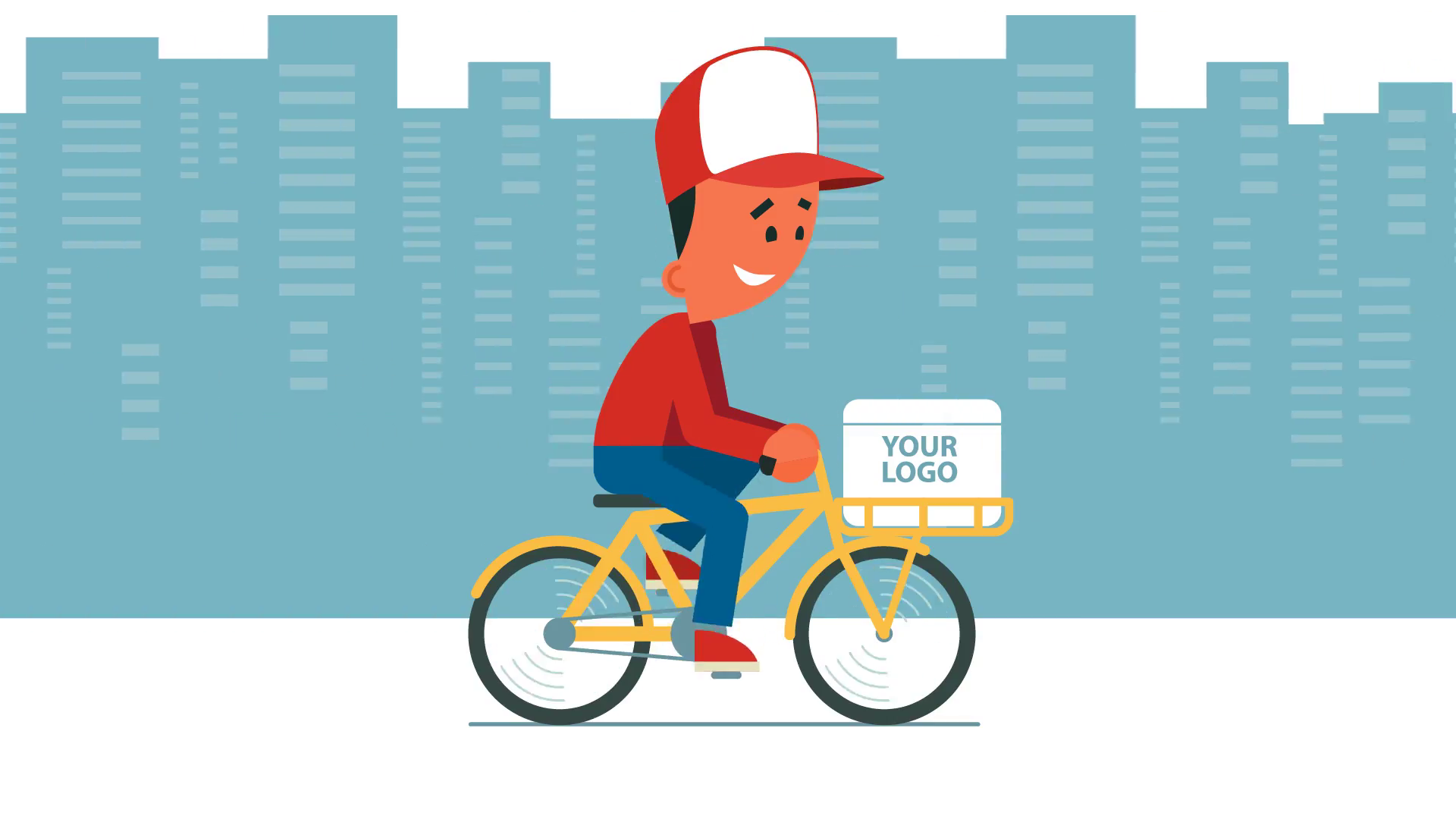 Png Delivery Man On Bike - Delivery service. Cartoon young man riding a bicycle with delivery ...