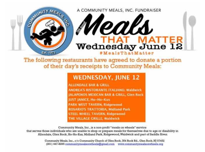 Nj Community Meals Png - Dine Out for Meals That Matter - TAPinto