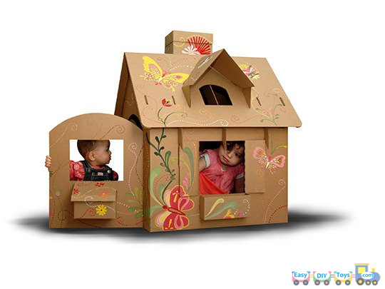 Cardboard Box Home Png - DIY-Toys-Doll-Houses+2.png (540×405) | Cardboard playhouse ...