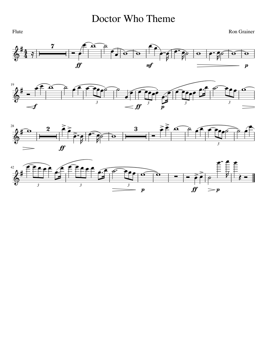 Doctor Who Theme Flute Sheet Music For 2810610 Png Images Pngio