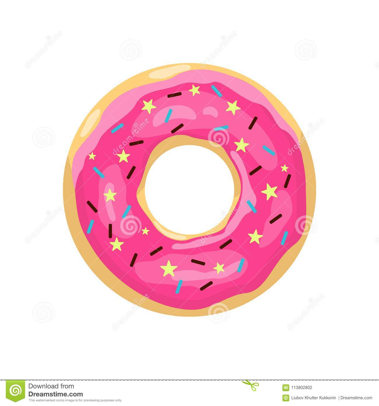 Cartoon Donut - Donut With Pink Glaze. Color Donut Icon. Cute Pink Cartoon Donut ...